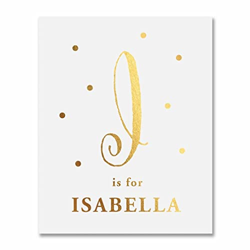 Amazoncom I Is For Isabella Baby Monogram Gold Foil Print 8x10 Or