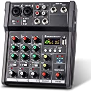 Ktoyols 4-Channel Portable USB Mixing Console Digital Audio Mixer Supports BT Connection for Studio Recording