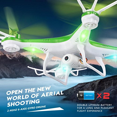 Livoty JJRC H97 2.4GHz 4CH 6-Axis LED With Camera RC Quadcopter Drone (Green)