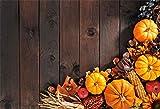 OFILA Autumn Backdrop 7x5ft Harvest Season Party Photography Background Autumn Pumpkins Apples Walnuts Thanksgiving Day Party Decoration Wood Photos Autumn Festival Celebration Activity Video Props