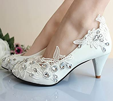 e1809bd5bcb getmorebeauty Women s Kitten Heel Lace Pearls Glitter Wedding Shoes 9 B(M)  US White