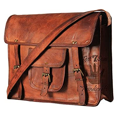 Leather Laptop Messenger Bag Office Briefcase College Bag on sale