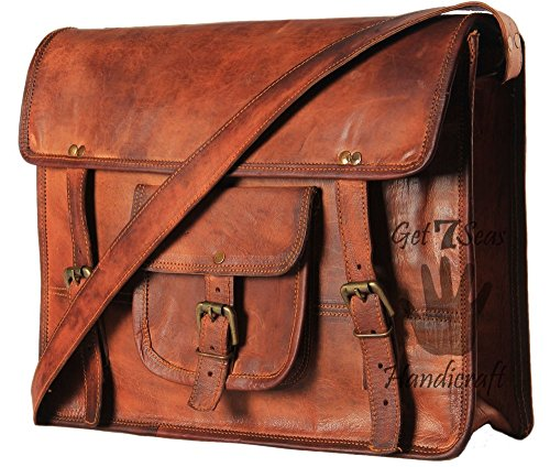 Leather Vintage Crossbody Messenger Courier Satchel Bag Gift Men Women ~ Business Work Briefcase Carry Laptop Computer Book Handmade Rugged & Distressed ~ Everyday Office College School (11 x 15) by ULS BAG (Image #4)