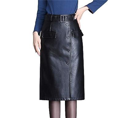 E-Girl E998 - Falda de Piel sintética para Mujer Negro 34 EU M ...