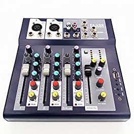 Weymic Professional Mixer | 4-Channel 2-Bus Mixer with USB disk Input 48V Phantom Power for Recording DJ Stage Karaoke…