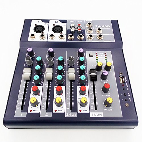 Weymic Professional Mixer | 4-Channel 2-Bus Mixer with USB Input 48V Phantom Power for Recording DJ Stage Karaoke Music Application