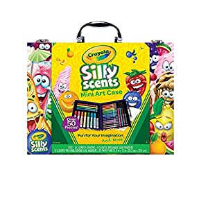 Scented Mini Inspirational Art Case Set, 16 Mini Twistables Crayons, 8 Slim and 8 Broad Line Washable Scented Markers, 20 Coloring Pages, Animal Coloring Book 96 Pages and 75 Stickers