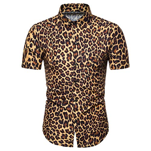GLVSZ Mens Summer Casual Dress Shirt Leopard Print Button Down Short Sleeve Tee(Yellow,XXXL) ()