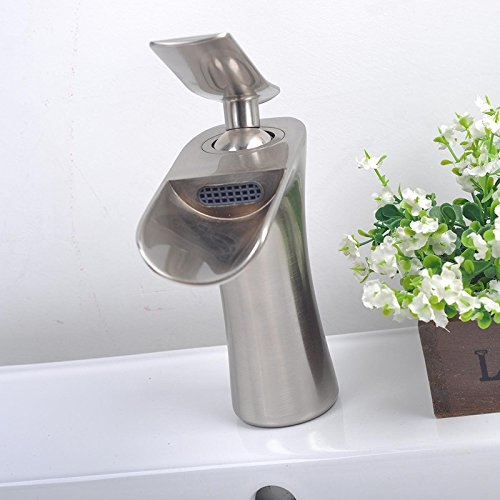 Furesnts Modern home kitchen and bathroom faucet Dan Lian-safety environmental protection type waterfall basin Faucets mixing valve SinkFaucets,(Standard G 1/2 universal hose ports) by Furesnts Faucet (Image #5)