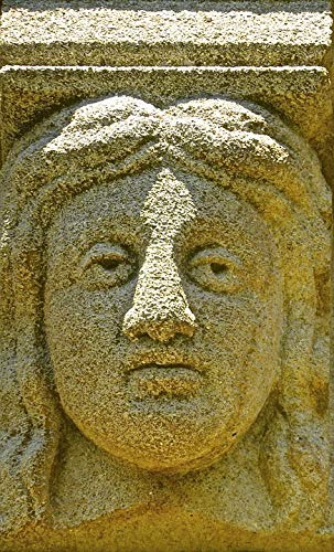 Home Comforts Canvas Print Head Stone Ancient Face Carving Sandstone Relief Vivid Imagery Stretched Canvas 32 x 24