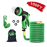 Delxo Upgrade 100FT Garden Hose with 9 Function High-Pressure Spray Nozzle Kink Resistant Anti-Squeeze Extra Strength Fabric Expandable Garden Hose Solid Brass Connectors Leakproof Design (Green)