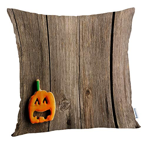 Batmerry Halloween Pillow Covers 18x18 inch,Halloween Cookies Wooden Food Wood Cake Cookie Pumpkin Brown Creepy Throw Pillows Covers Sofa Cushion Cover -