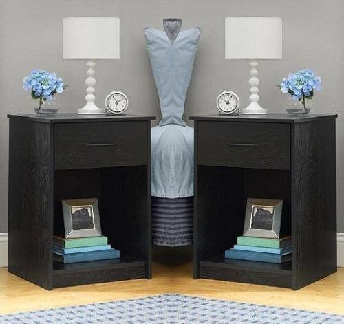 SET OF 2 Nightstand End Tables Bedroom Furniture Shelf Drawer ASSORTED Colors (Bedroom Sets Discount)
