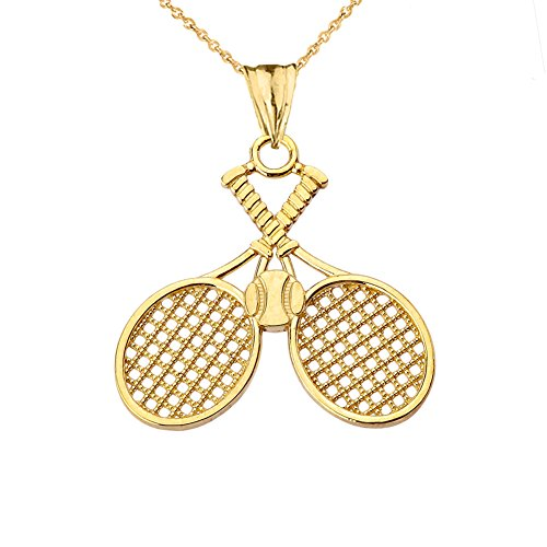 Fine 10k Yellow Gold Double-Crossed Tennis Racquets and Ball Sports Charm Pendant Necklace, 16