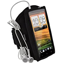 iGadgitz Black Water Resistant Neoprene Sports Gym Jogging Armband for HTC One X S720e & HTC One X+ Plus Android Smartphone Cell Phone (NOT Suitable For HTC ONE M7)