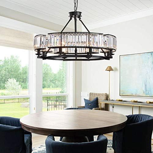 Siljoy Luxury Round Crystal Chandelier Modern LED Dimmable 8-Lights Pendant Lighting Vintage Flush Mount Black Ceiling Fixture