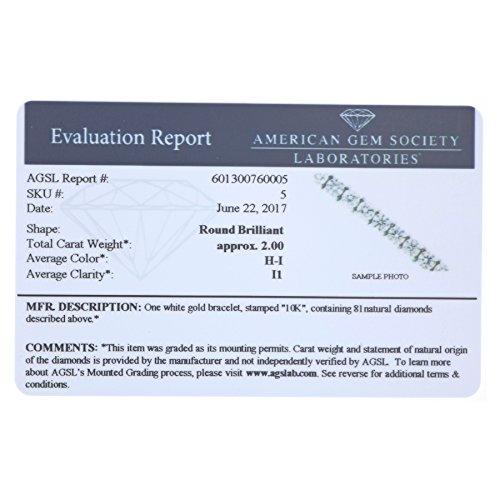 AGS Certified 2 CT I1 I2 Clarity Diamond Bracelet 10K White Gold (I J)