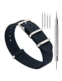 CIVO Watch Bands NATO Premium Ballistic Nylon Watch Strap Stainless Steel Buckle 18mm 20mm 22mm with Top Spring Bar Tool and 4 Spring Bars Bonus (Black, 18mm)