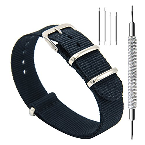 CIVO Watch Bands NATO Premium Ballistic Nylon Watch Strap Stainless Steel Buckle (Black, 20mm) ()