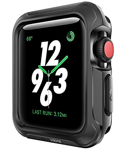 - Mkeke For Apple Watch Case 42mm, Cover For iWatch Case 42mm Bumper Screen Protection Shock Absorption-Black