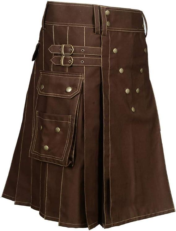AK Homme Écossais Brown utility Kilt avec bretelles réglables fashion Sports Kilts