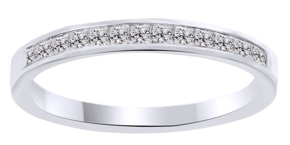White Natural Diamond Princess Cut Classic Half Eternity Ring in 10k Solid White Gold (0.4 Cttw) Ring Size - 5