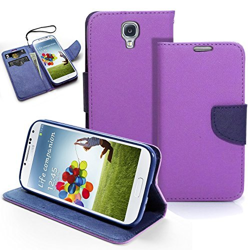 Galaxy S4 Case, MagicMobile® Hybrid PU Leather Flip Cover Case [Heavy Duty] for Samsung Galaxy S4 Folio [Wallet] Protective Case with Foldable Back Stand Cover (Purple) Shockproof Impact Resistant