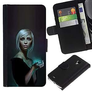LECELL--Cuero de la tarjeta la carpeta del tirón Smartphone Slots Protección Holder For Samsung Galaxy S4 Mini i9190 -- Azul resplandor Rubio --