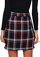 BerryGo Womens High Waist Plaid Mini Skirt Tweed A Line Bodycon Short Skirt