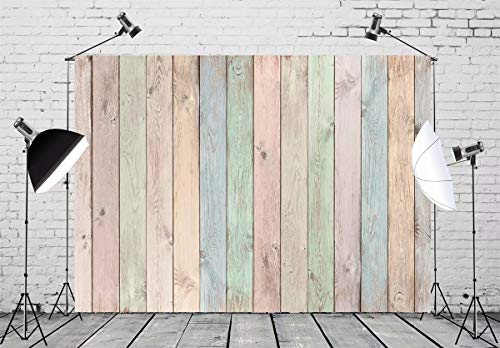 BELECO 7x5ft Wood Backdrop Pastel Colored Wood Planks