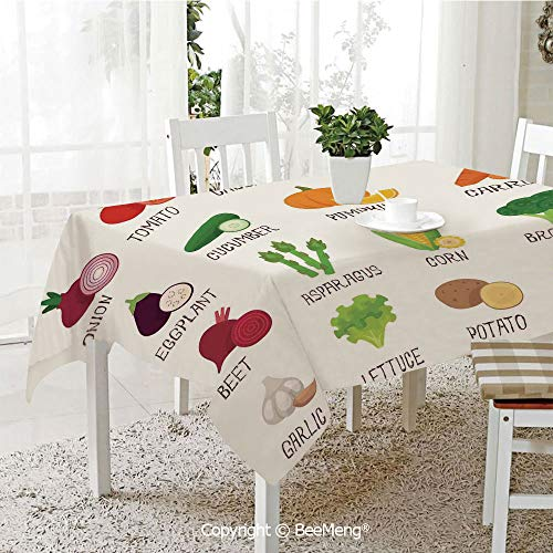 (BeeMeng Large dustproof Waterproof Tablecloth,Family Table Decoration,Kitchen Decor,Vegetables Pattern Retro Cafe Home Design Pumpkin Tomato Cabbage Pepper Patato,White Green Red,70 x 104)