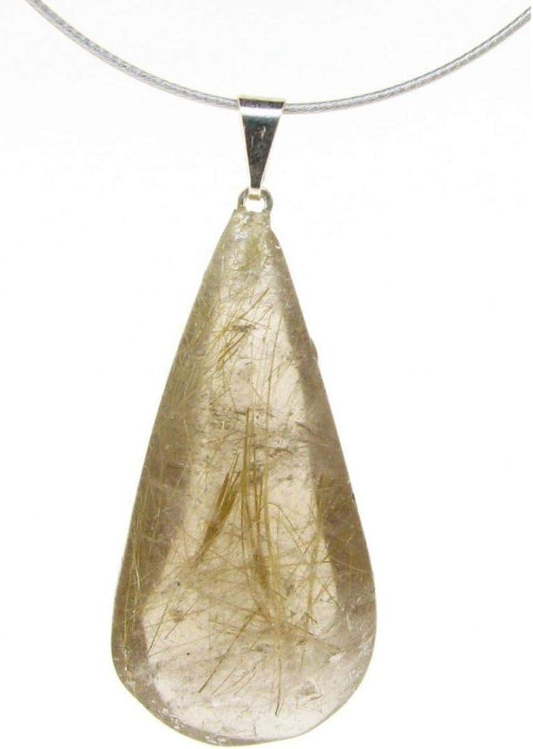Colgante Lagrima de Cuarzo Rutilado Minerales y Cristales, Belleza energética, Meditacion, Amuletos Espirituales