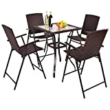 TANGKULA 5 Pcs Patio Furniture Set Square Bar Glass Top Table and 4 Folding Chairs Wicker Outdoor For Sale
