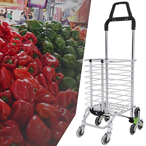 Utheing Folding Aluminum Stair Climbing Shopping Cart with Swivel Wheel Bearings and Waterproof Oxford Cloth Bag, Capacity of 177 pounds (Type2) by Utheing (Image #8)