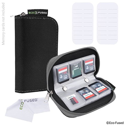 Memory Card Case - 2 Pack - Fits up to 44x SD, SDHC, Micro SD, Mini SD and 4x CF - Holder with 22 Slots (8 Pages) - For Storage and Travel - Microfiber Cleaning Cloth and Labels Included - Black Grey