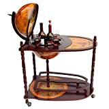 WestWood Globe Shaped Mini Bar Trolley With Table Drinks Cabinet Retro Style Host Glasses Bottles Wine 330MM