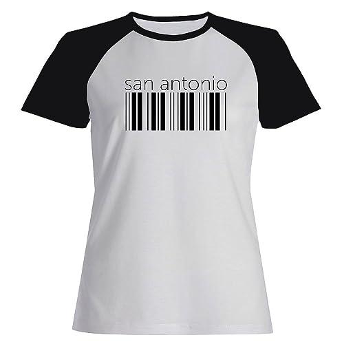 Idakoos San Antonio barcode – US Città – Maglietta Raglan Donna