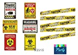 zombie supplies - Zombie Caution Tape & Zombie Posters Pack for Zombie Party or Halloween Party