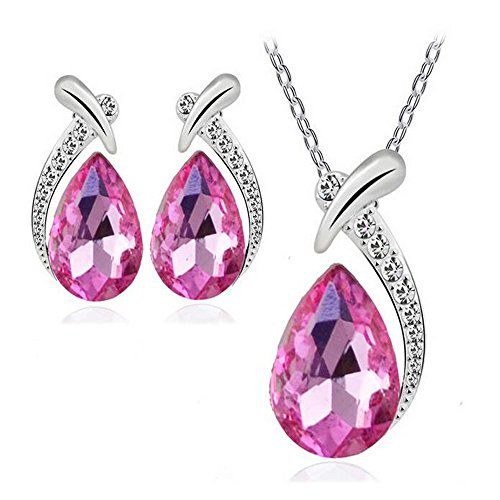 Darkey Wang Woman Fashion Water Droplets Crystal Short Paragraph Clavicle Necklace Earrings Set(Rose red) (Mail Order Fruit Companies)