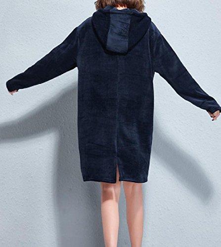 Floral Dresses Royal Sweatshirts Hooded Comfy Print Size Blue Velvet Plus Women RAXwf1