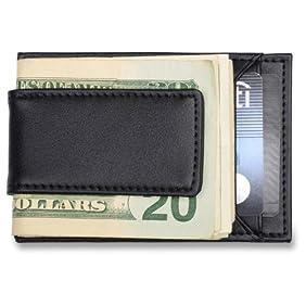 Men's Credit Card Holder & Money Clip - Black Leather Wallet, Fits Front Pocket
