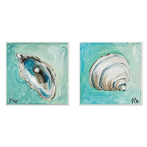 12' Sign Beach Blue Decor (2 Piece 12' x 12' Blue Grey Seashell Pattern Wall Art Square, Gray Beige Beach Theme Hanging Picture Coastal Nautical Sea Shell Patterned Wood Plaque Ocean Sea Themed Aquarium Botanical, Wood)