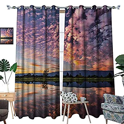 Clouds Blackout Window Curtain Magical Reflection Pink Colored Clouds in Water Mirroring Scenic Weather Activity Picture Customized Curtains W72 x L96 Blue