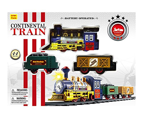 stem toys for babies Mozlly Continental Railroad Express Train, 11Pcs - Locomotive Color May Vary Toy Playset - Trains Theme - Item #101320