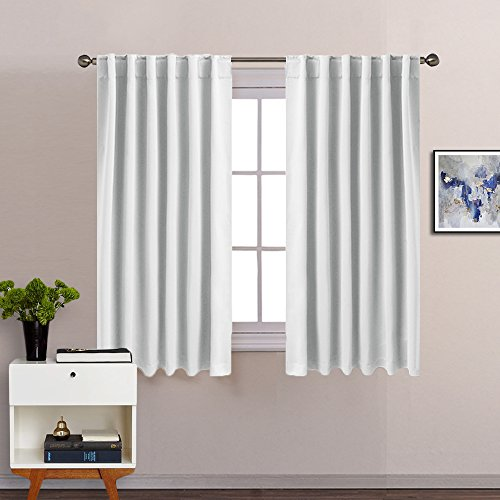 Greyish White Blackout Curtains Drapery - PONY DANCE Thermal Insulated Room Darkening Draperies with Back Tab and Rod Pocket Top for Kitchen,52'W x 54'L,Two Pieces