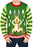 Mens Frisky Rudolph Naughty Sweater (Green) - Ugly Holiday Sweater
