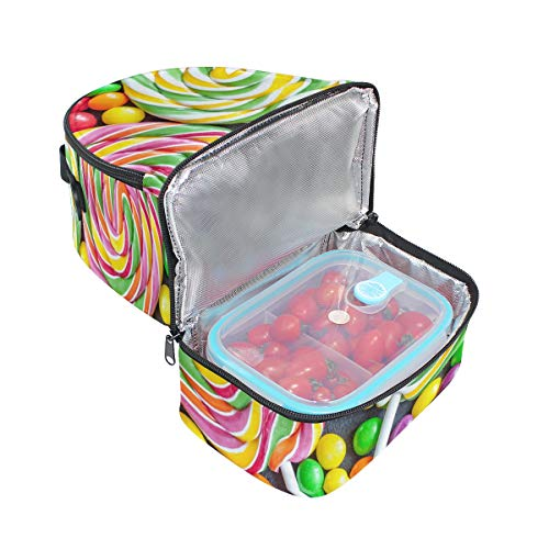 De Coloreado Picnic Correa Ajustable Doble Almuerzo Cooler Bolso Candy Lollipop Y Con Para fCwqzpxWdx