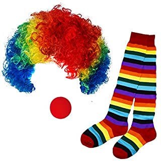 Funny Party Hats Clown Costume - Clown Hat, Jumbo Tie & Clown Nose - Clown Accessories (3 Pc Clown Costume: Colorful Wig, Colorful Socks, Nose)