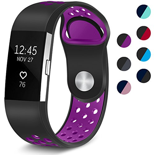 Maledan Replacement Sport Bands with Air Holes Compatible for Fitbit Charge 2, Black/Purple, Small