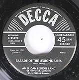 AMERICAN LEGION BAND 45 RPM PARADE OF THE LEGIONNAIRES / AMERICAN PATROL